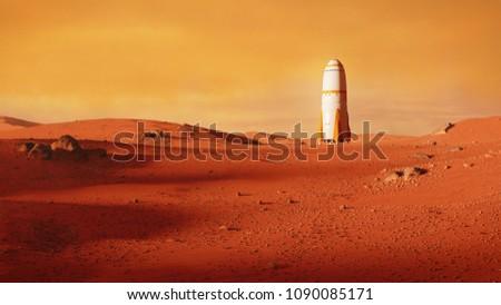 landscape on planet Mars, rocket landing on the red planet (3d space illustration)