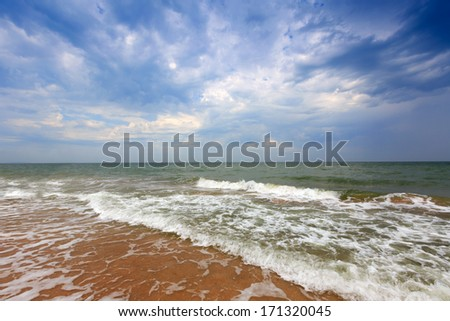 landscape on sea with thunder clouds