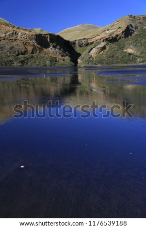 Landscape on the beaach with the reflection in the water.  Taken at Karioitahi beach in New Zealand.  Vertical image.
