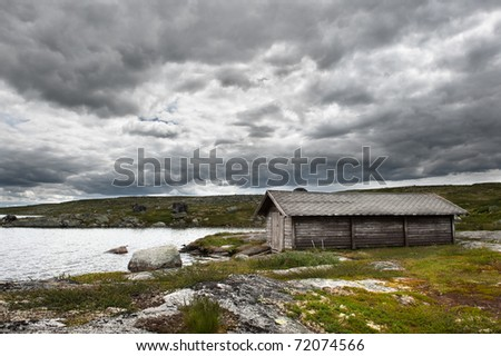 Landscape on the mountain passage between Oslo and Bergen in stormy weather