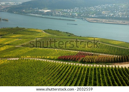 Landscape on the Rhine River, Germany - stock photo