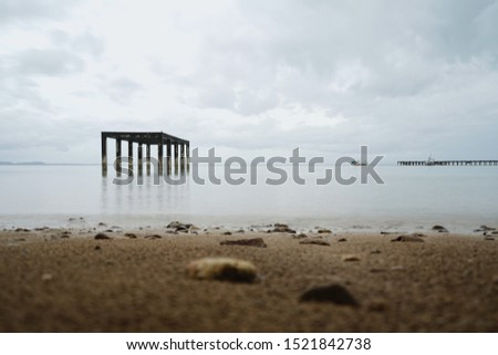 Landscape or seascape of the beach with a abandon structure house on the sea. Used to be a nursery for a small fish and shell or calm . Fisherman like to find the fish around