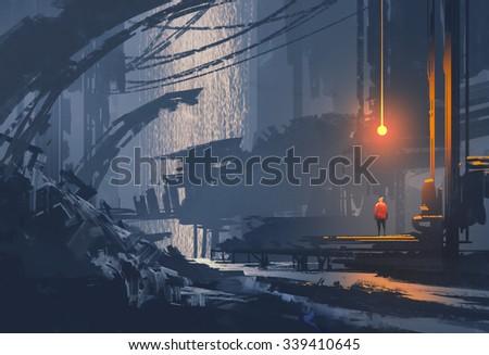 landscape painting of underground city,sci-fi illustration