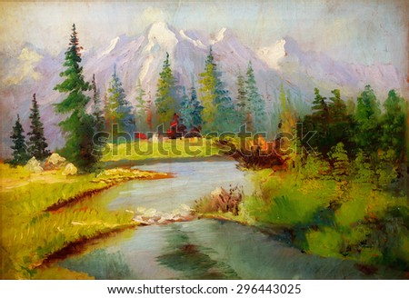 Landscape painting. River and miscellaneous and trees\ .Snow covered mountains in the background.