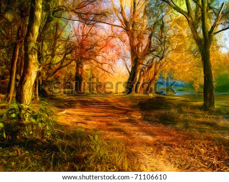 Stock Photo Landscape painting showing all the beauty of natures colors.