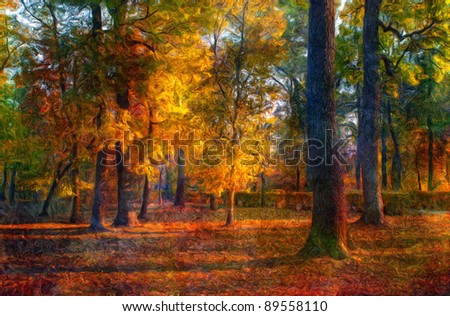 Landscape painting showing autumn forest on beautiful sunny day.