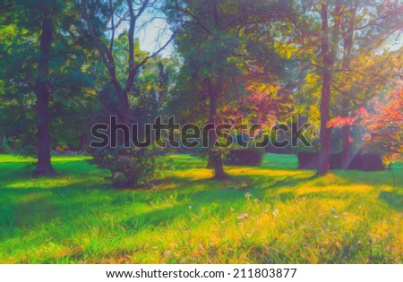 Landscape painting showing autumn forest on sunny day. #211803877