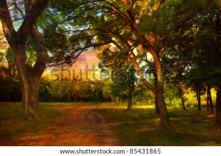 Landscape painting showing beautiful autumn day in the forest.