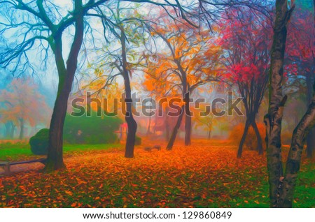 Landscape painting showing beautiful park on misty autumn day.