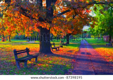 Landscape painting showing beautiful sunny autumn day in the park.