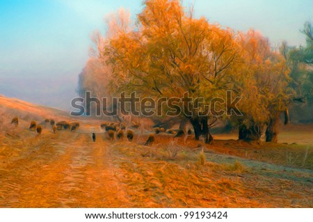 Landscape painting showing cattle of sheep beside forest on beautiful autumn day.