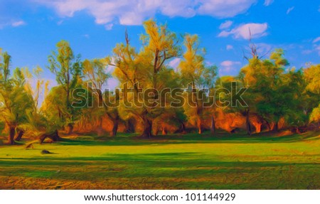 Landscape painting showing forest and meadow in front of it on sunny spring day.