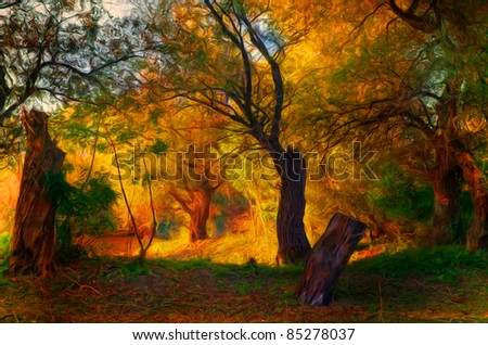 Landscape painting showing old forest on sunny autumn day.