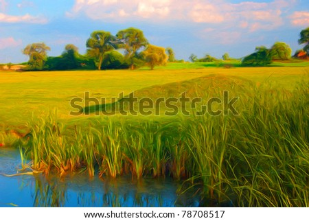Landscape painting showing reed in the water, wast meadow and trees at the horizon.