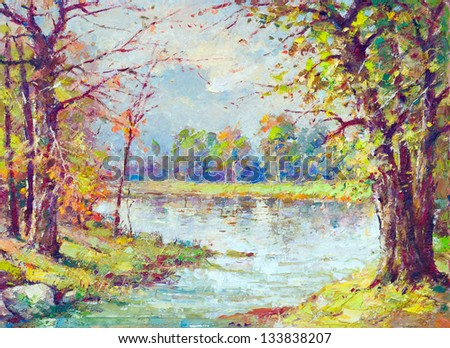 Landscape painting showing river flowing through the forest on beautiful spring day.