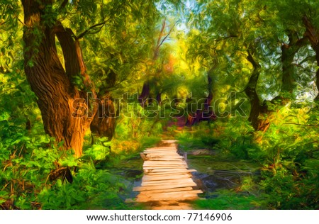 Landscape painting showing small wooden bridge that leads over small stream and through the forest.