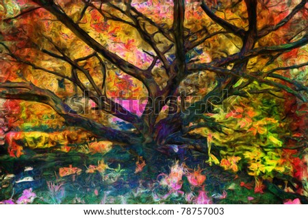 Landscape painting showing tree in the park surrounded with unusual colors.