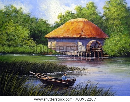 landscape paintings mill. oil...