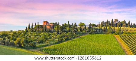 Landscape panorama from Tuscany, in the Chianti region. #1281055612
