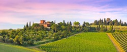 Landscape panorama from Tuscany, in the Chianti region. Italy.
