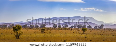 Landscape panorama of Flinders Ranges mountain ridge in South Australia #1159963822
