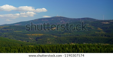 Landscape panorama view of Mount Brocken, the highest peak of the Harz mountains, Saxony-Anhalt, Germany.