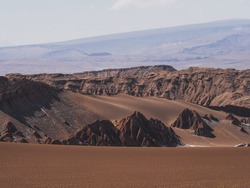 Landscape panorama view of rock formations in Valley of the moon Valle de la luna near San Pedro de Atacama desert Northern Chile South America