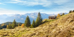 Landscape Panorama with a hut in the autumnal mountains of the Zillertal