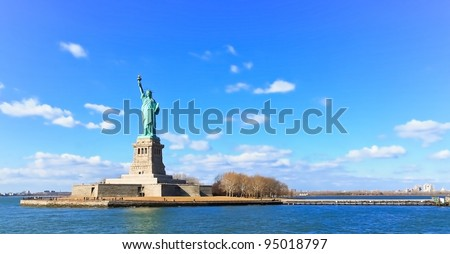Landscape panoramic view of The Statue of Liberty