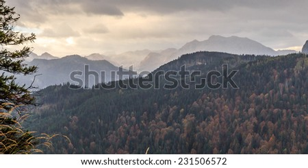 Landscape Photo from the Mountains of Berchtesgaden. Autumn Colors and Atmosphere in the highlands of southern Bavaria near Munich.