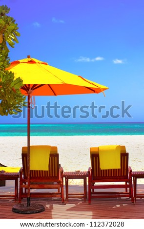 Landscape photo of Coast beach sleeping chair in Maldive beach front villa