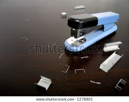 Landscape photo of everyday office items - stapler.