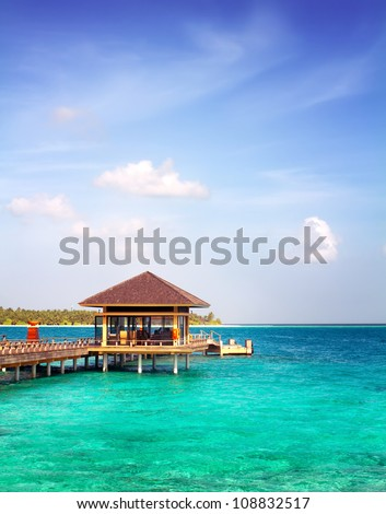 Landscape photo of Island in ocean, over water villa with endless swimming pools. Maldives.