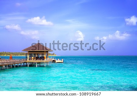 Landscape photo of Island in ocean, over water villa with endless swimming pools. Maldives. #108919667