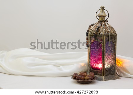 Landscape Photo Of lantern, rosary and Dates, use it as poster, Greeting card, Brochure