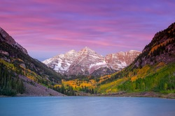 Landscape photo of Maroon bell in Aspen Colorado autumn season, United States at sunset