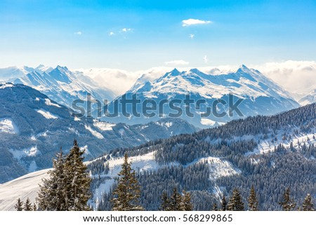 Landscape photo of snowy mountains in Alps