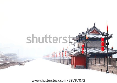 Landscape photo of traditional ancient Chinese style building with red lantern in snow