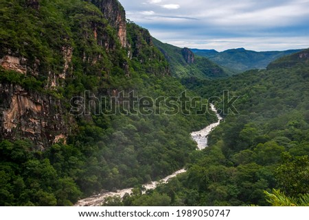 Landscape photographed in Chapada dos Veadeiros National Park, Goias. Cerrado Biome. Picture made in 2015. Foto stock ©