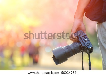 Landscape Photography, Photographer Ready to Take Landscape Pictures on the cherry blossom
