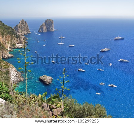 Landscape picture coast of the island of Capri, made from viewing platform, Italy