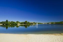 Landscape picture of a beautiful artificial laggon - Quinta do Lago, Faro, Portugal