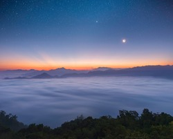 Landscape pictures of attractions in Yala Province, Southern Thailand The whole milky way Beautiful morning mist, suitable for traveling.