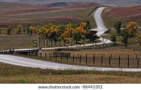 Landscape scene of Custer State Park, South Dakota, near buffalo corral - stock photo
