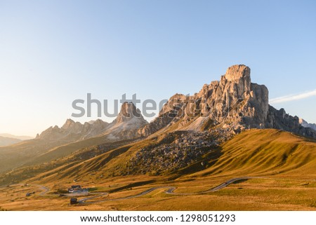 landscape scenic viewpoint of Passo di giau , famous travel location Dolomite Alps, Italy #1298051293