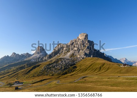 landscape scenic viewpoint of Passo di giau , famous travel location Dolomite Alps, Italy #1356568766