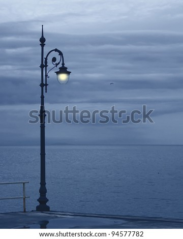 Landscape: sea and streetlight late night