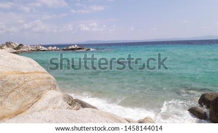 Landscape sea blue summer travel stones sky #1458144014