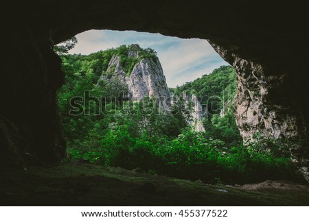 Landscape seen from a cave, Transylvania. Stock fotó ©