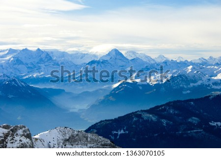 Landscape seen from the top of Mount Pilatus in autumn - Distance view of Berner Alps and Lake Lungern, Canton of Obwalden / Nidwalden / Lucerne, Central Switzerland, Switzerland #1363070105